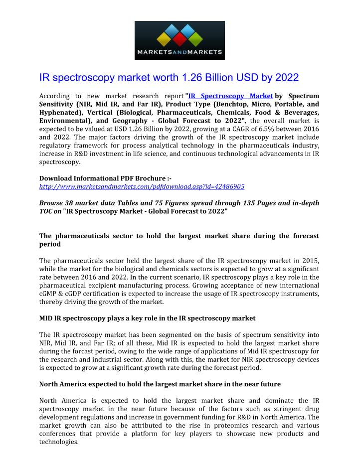 IR spectroscopy market worth 1.26 Billion USD by 2022