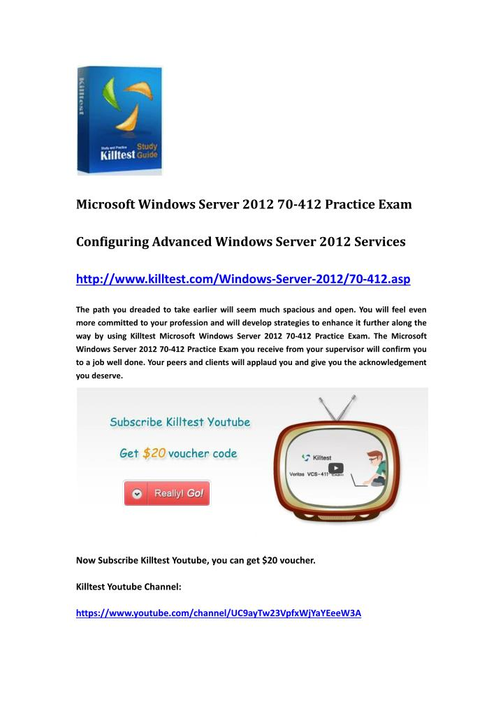 Microsoft Windows Server 2012 70-412 Practice Exam