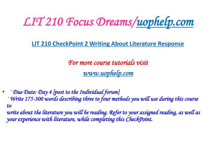 LIT 210 Focus Dreams/