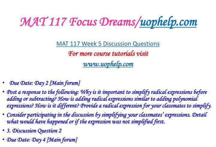 MAT 117 Focus Dreams/