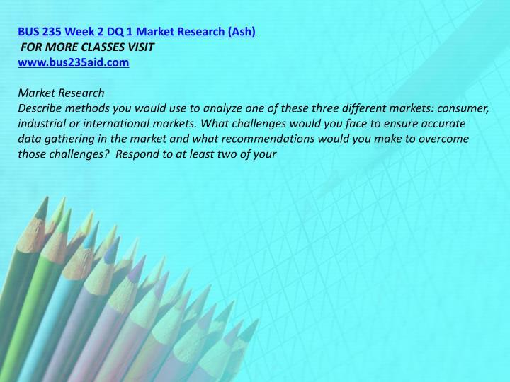 BUS 235 Week 2 DQ 1 Market Research (Ash)