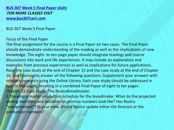 BUS 307 Week 5 Final Paper (Ash)