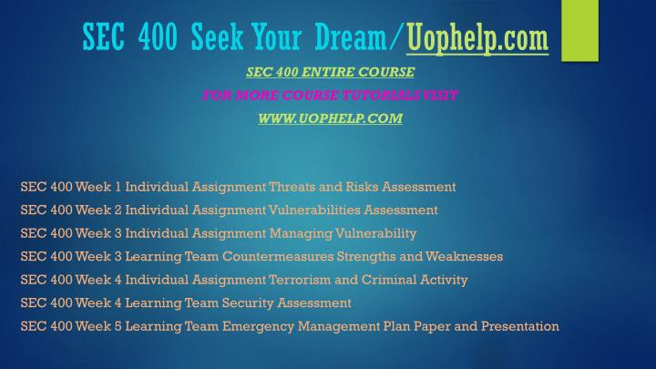 Sec 400 seek your dream uophelp com1