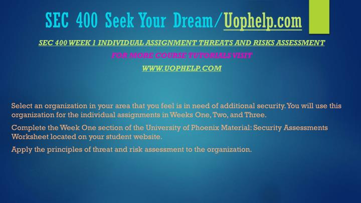 Sec 400 seek your dream uophelp com2