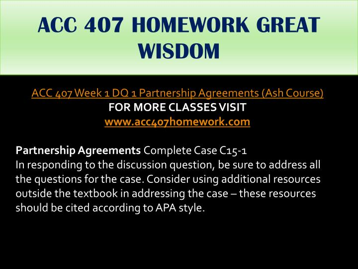 ACC 407 HOMEWORK GREAT WISDOM