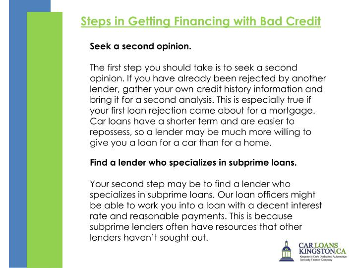 Steps in Getting Financing with Bad Credit