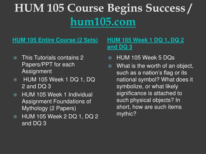 Hum 105 course begins success hum105 com1