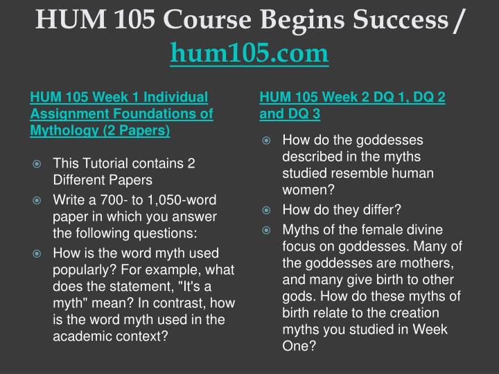 Hum 105 course begins success hum105 com2