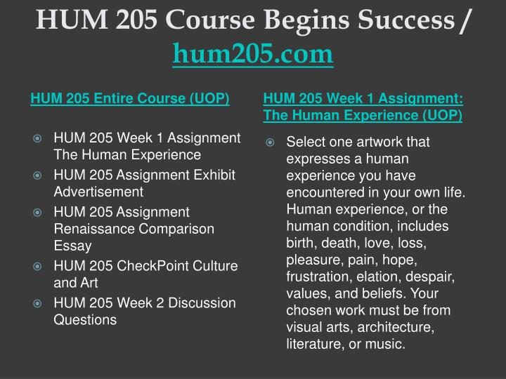 HUM 205 Course Begins Success /