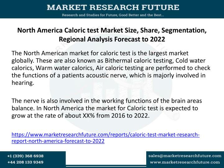 North america caloric test market size share segmentation regional analysis forecast to 2022