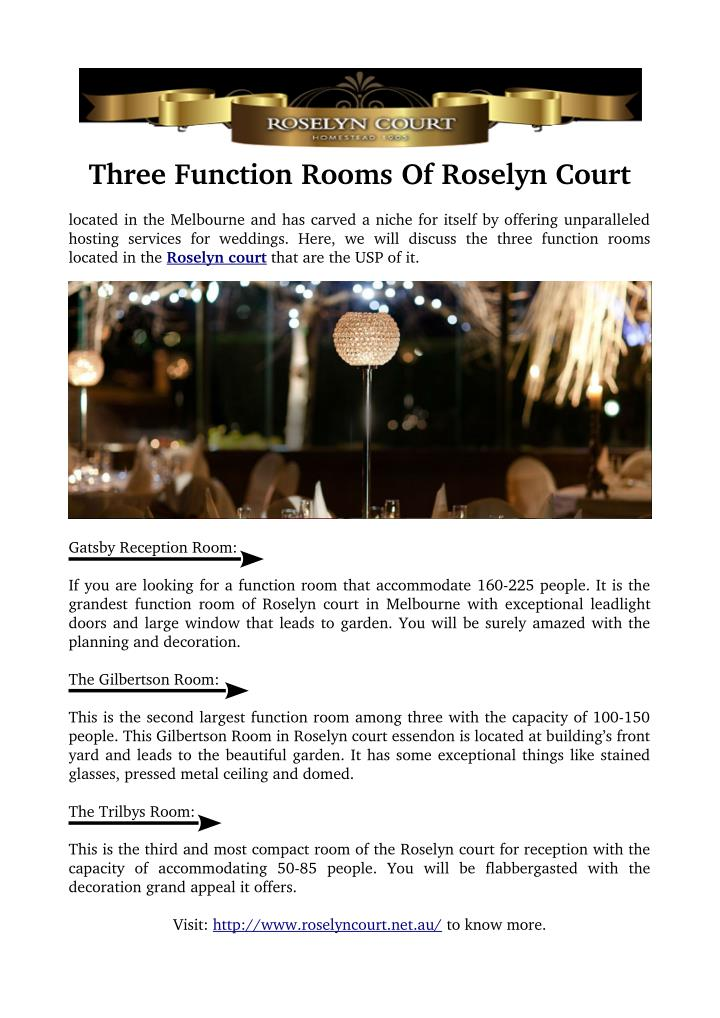 Three Function Rooms Of Roselyn Court