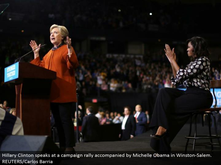 Hillary Clinton talks at a crusade rally joined by Michelle Obama in Winston-Salem. REUTERS/Carlos Barria