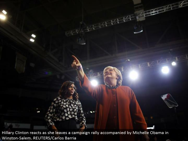 Hillary Clinton responds as she leaves a battle rally joined by Michelle Obama in Winston-Salem. REUTERS/Carlos Barria