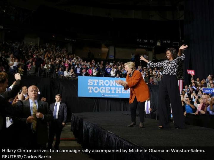 Hillary Clinton touches base to a crusade rally joined by Michelle Obama in Winston-Salem. REUTERS/Carlos Barria