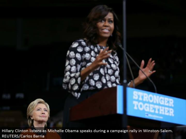 Hillary Clinton listens as Michelle Obama talks amid a crusade rally in Winston-Salem. REUTERS/Carlos Barria