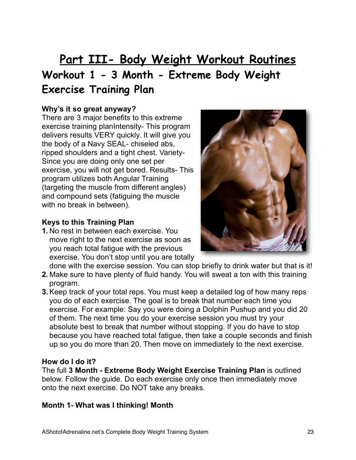 Part III- Body Weight Workout Routines