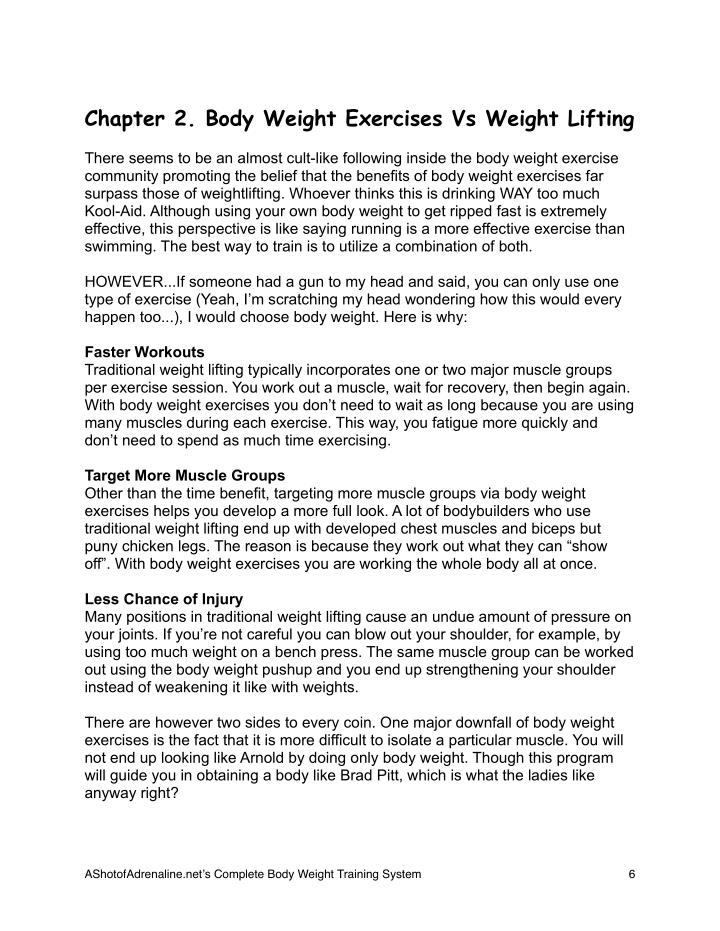 Chapter 2. Body Weight Exercises Vs Weight Lifting