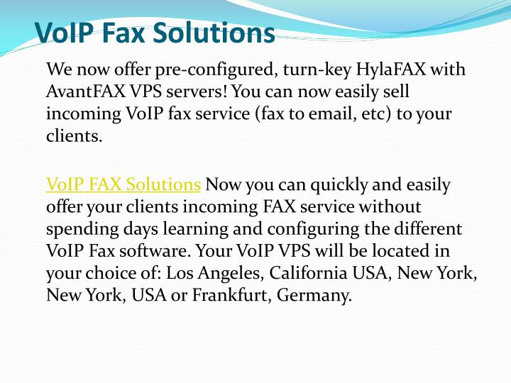VoIP Fax Solutions