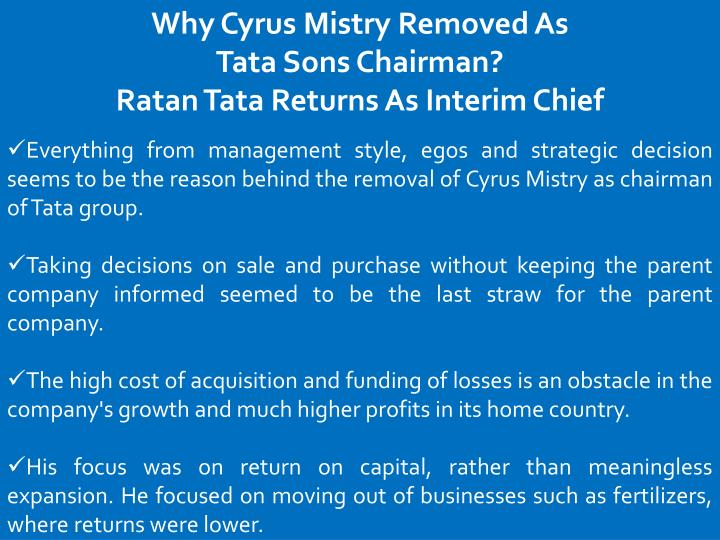 Why Cyrus Mistry Removed As