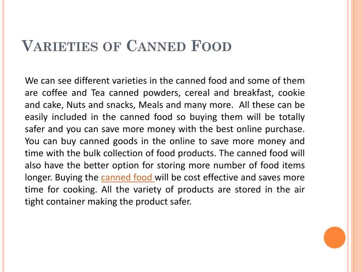 Varieties of Canned Food