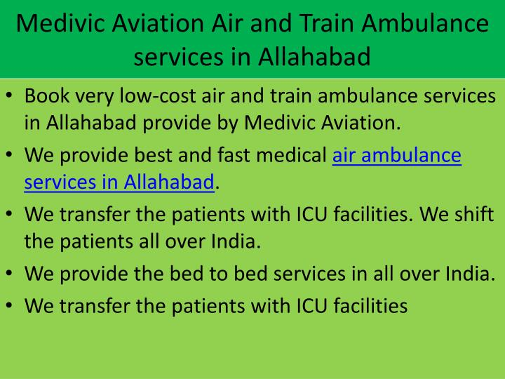 Medivic Aviation Air and Train Ambulance services in Allahabad