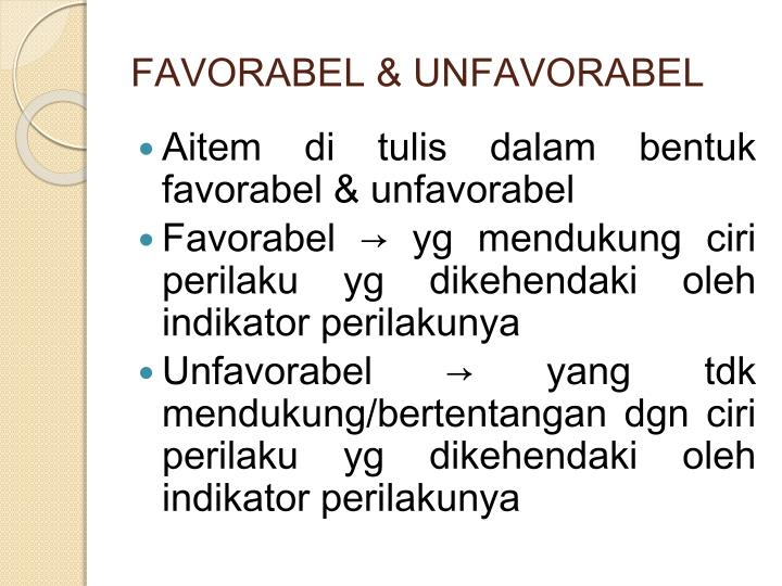 FAVORABEL & UNFAVORABEL