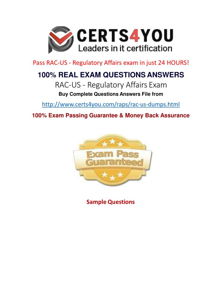 Pass RAC-US - Regulatory Affairs exam in just