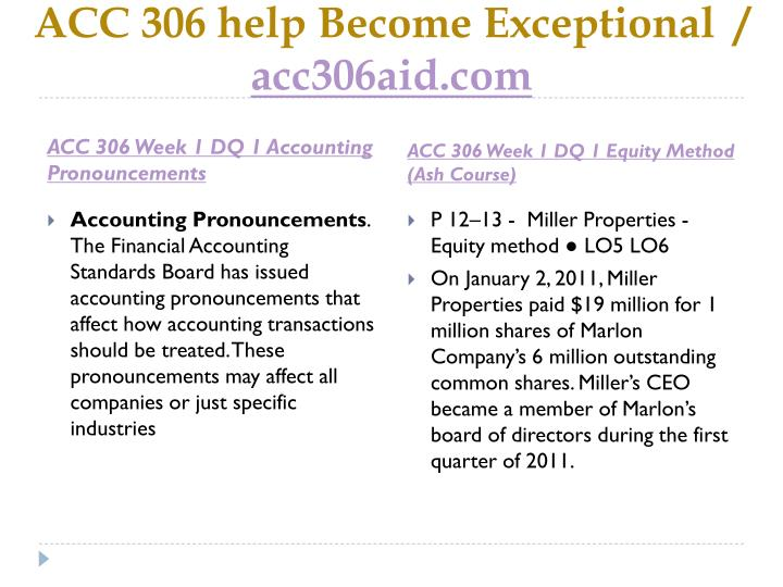 ACC 306 help Become Exceptional