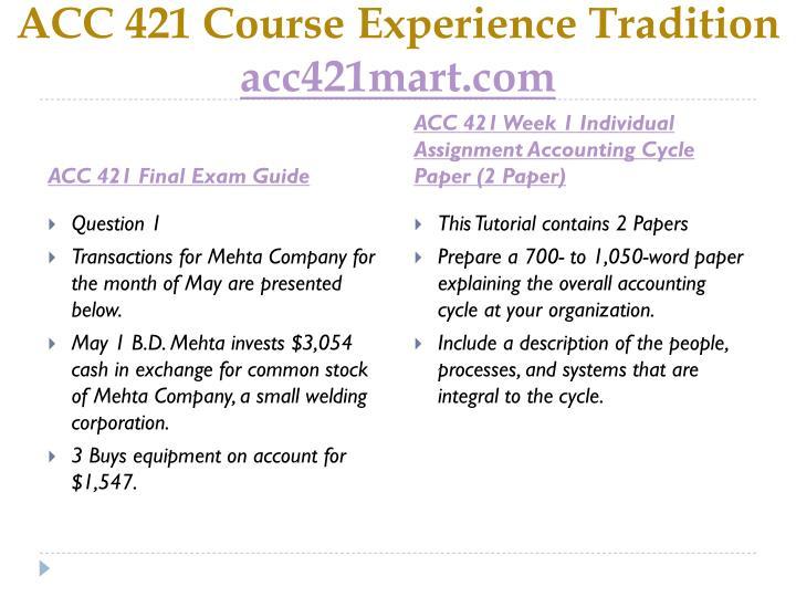 ACC 421 Course