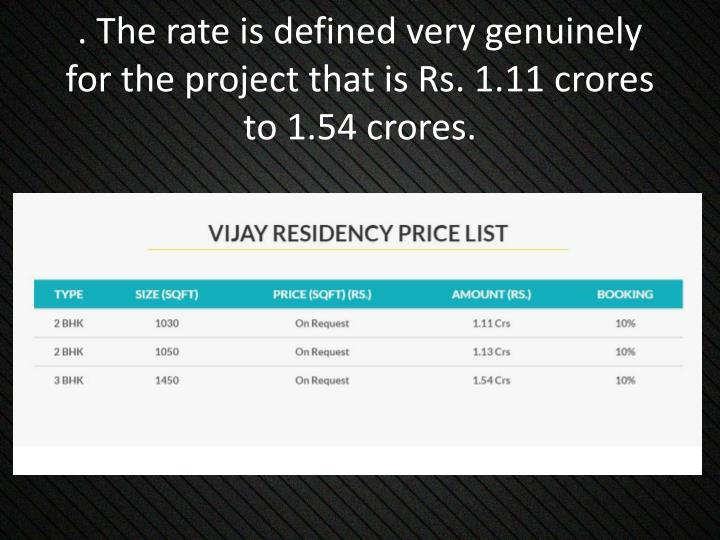 . The rate is defined very genuinely for the project that is Rs. 1.11