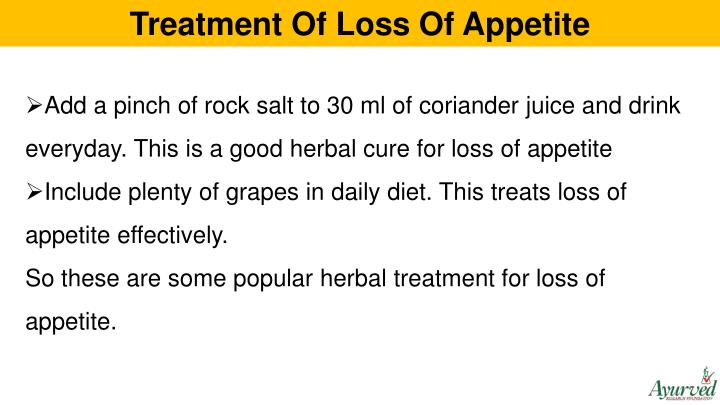 Treatment Of Loss Of Appetite