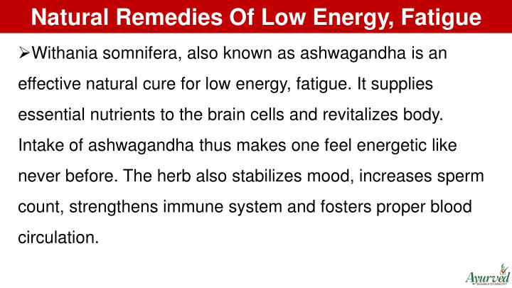 Natural Remedies Of Low Energy, Fatigue