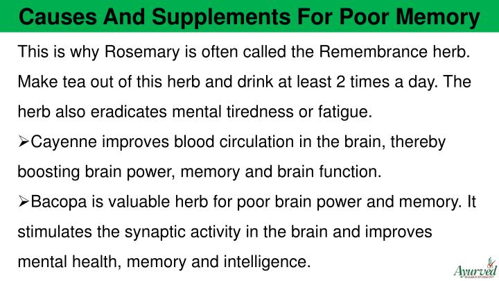 Causes And Supplements For Poor Memory
