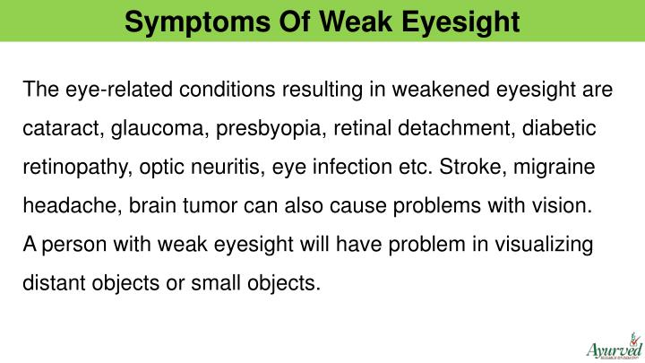 Symptoms Of Weak Eyesight