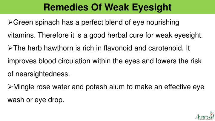 Remedies Of Weak Eyesight