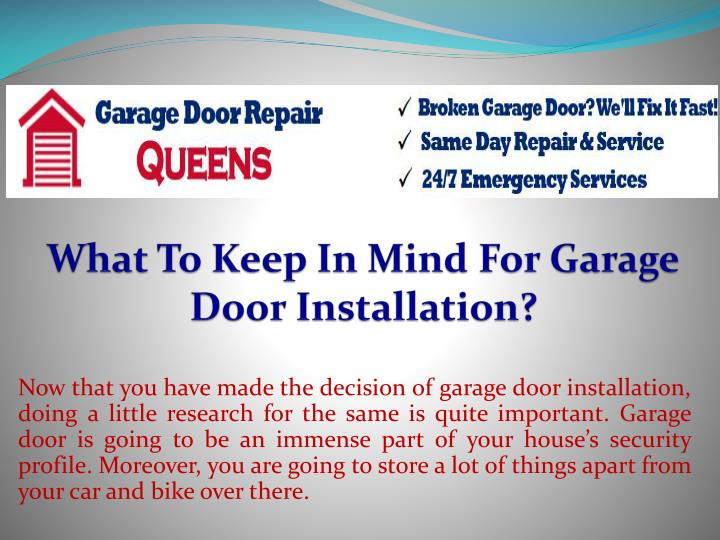 What to keep in mind for garage door installation