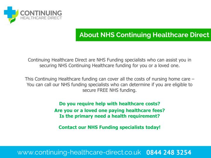 Continuing Healthcare Direct are NHS Funding