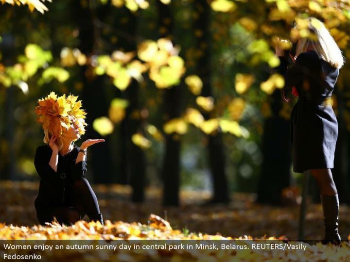 Women appreciate a fall sunny day in focal stop in Minsk, Belarus. REUTERS/Vasily Fedosenko