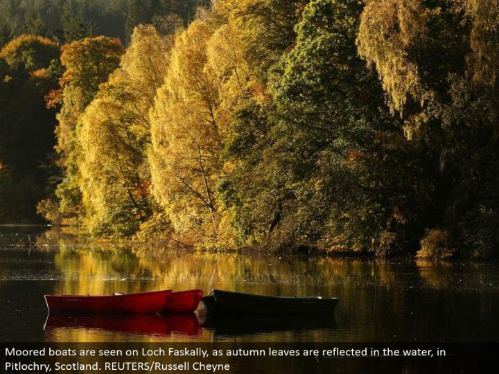 Moored vessels are seen on Loch Faskally, as harvest time leaves are reflected in the water, in Pitlochry, Scotland. REUTERS/Russell Cheyne