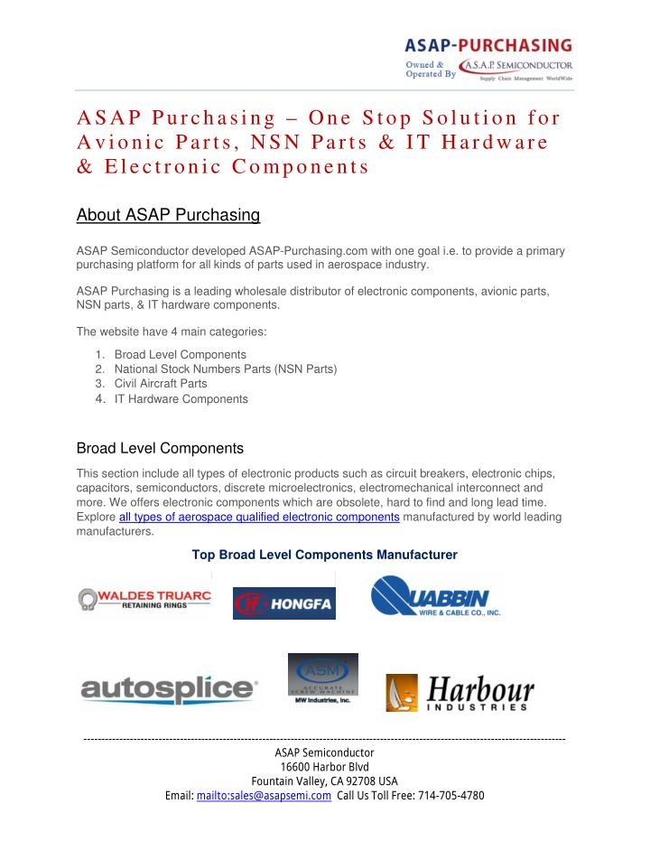 ASAP Purchasing – One Stop Solution for
