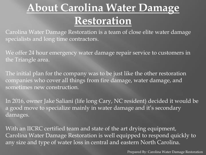 About Carolina Water Damage