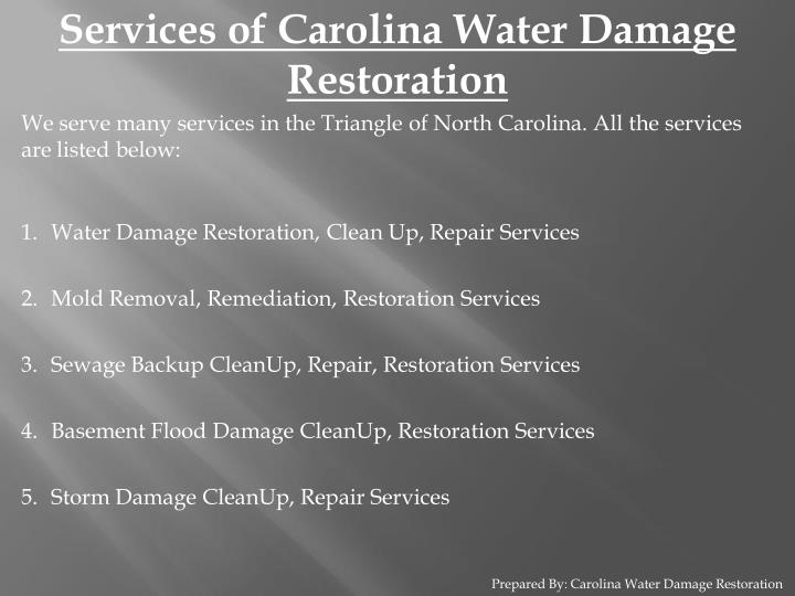 Services of Carolina Water Damage