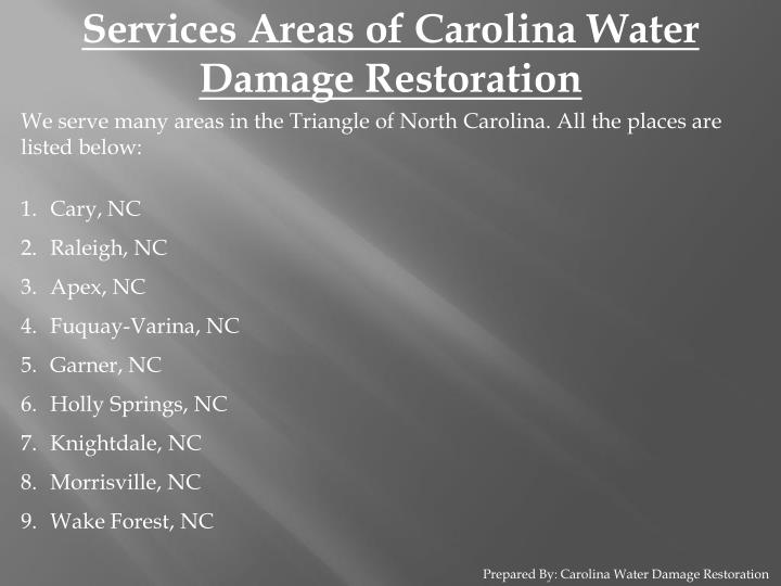 Services Areas of Carolina Water