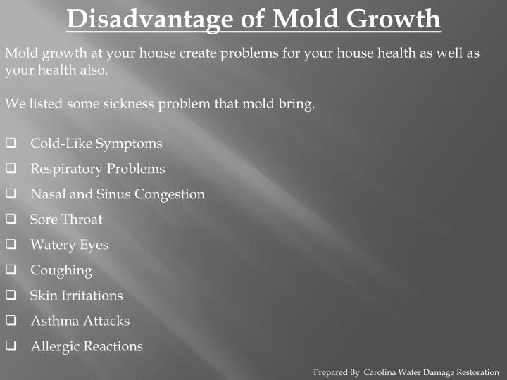 Disadvantage of Mold Growth