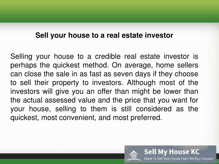Sell your house to a real estate investor