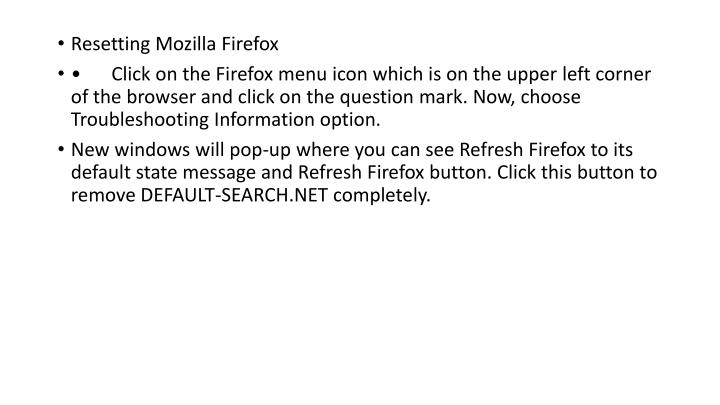 Resetting Mozilla Firefox