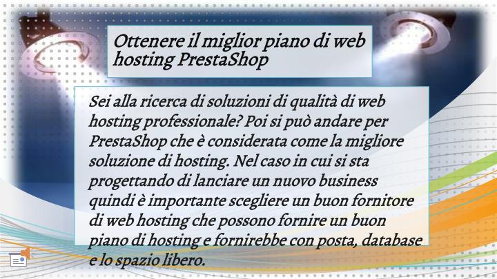 Ottenere il miglior piano di web hosting PrestaShop