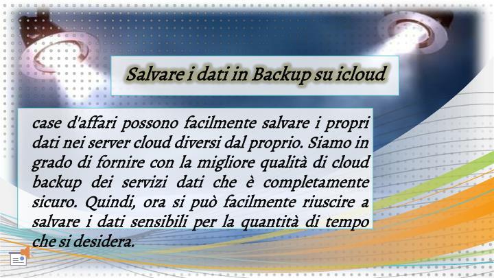 Salvare i dati in Backup su icloud