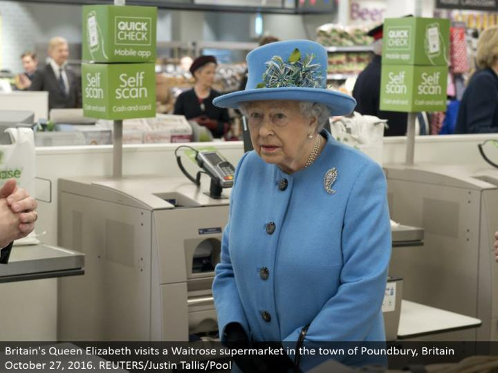 Britain's Queen Elizabeth visits a Waitrose store in the town of Poundbury, Britain October 27, 2016. REUTERS/Justin Tallis/Pool