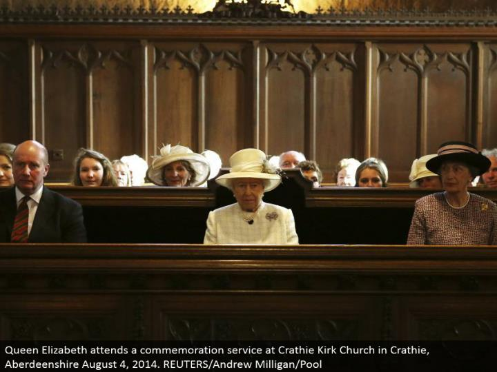 Queen Elizabeth goes to a remembrance benefit at Crathie Kirk Church in Crathie, Aberdeenshire August 4, 2014. REUTERS/Andrew Milligan/Pool